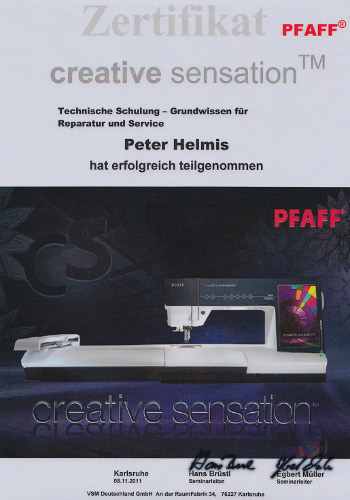 Zertifikat Pfaff Creative Sensation
