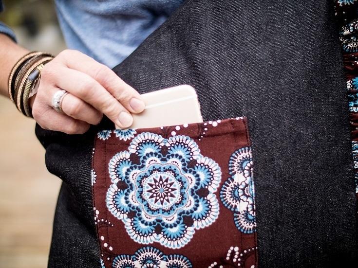 Aufgesetzte Tasche an Schultertasche.