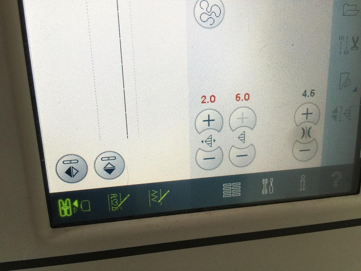 Display der Nähmaschine
