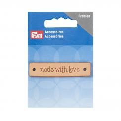 Prym Label Leder 'made with love' (60 x 13 mm/ rechteckig/ 1 St.)