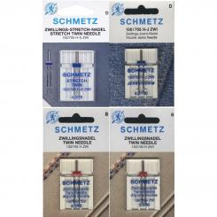 Schmetz Nadelsortiment Stretch Twin/ Jeans Twin/ Universal Twin/ System 130/705H/ 4 Nadeln