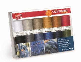 Gütermann Denim Nähfaden-Set-1 (12 Farben/ 100 m)