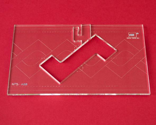 Quilt-Lineal ''ZickZack'' (Plexiglas 5 mm/ Muster 10x7 cm/ Lineal 12,6x20 cm)