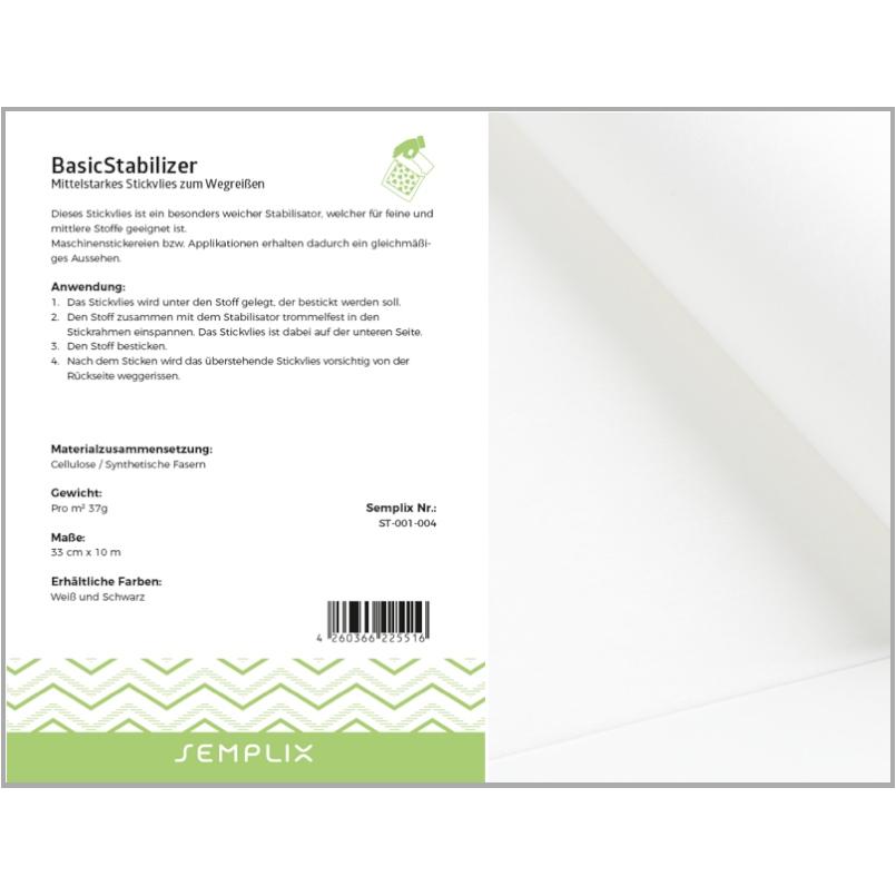 Semplix BasicStabilizer mittl. Stickvlies zum Wegreißen // weiß // 33 cm  x 10 m
