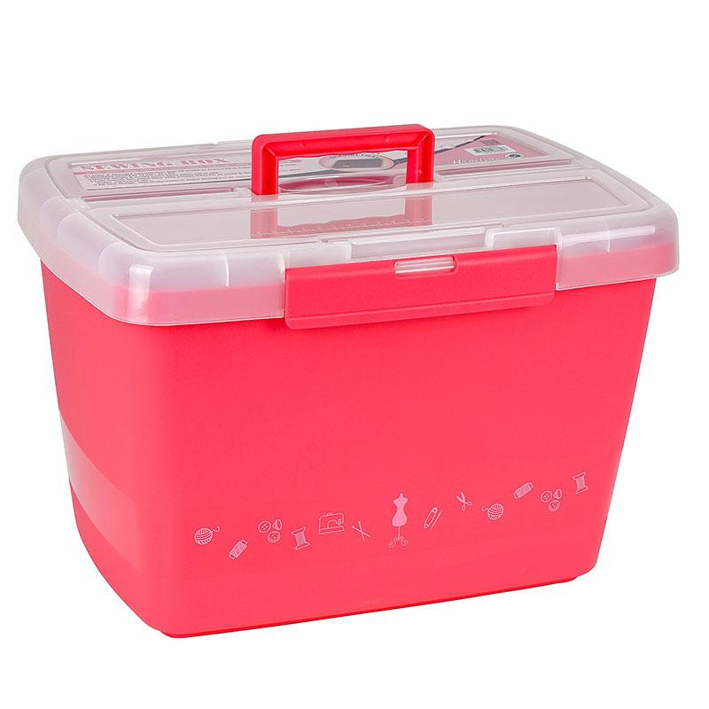 Kunststoffbox Nähkoffer Große stabile Nähbox pink