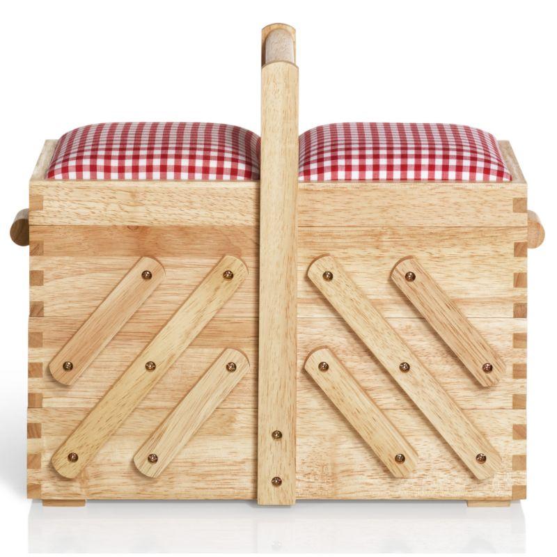 prym n hkasten holz m hell rot wei er vichy karostoff n hwelt flach. Black Bedroom Furniture Sets. Home Design Ideas