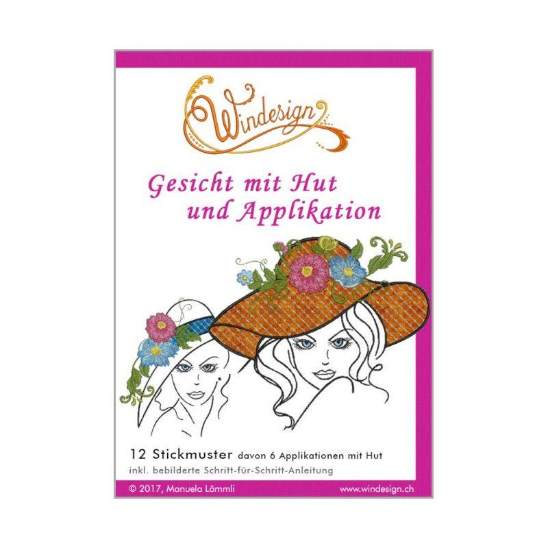 Windesign Stickmuster CD Gesicht mit Hut und Applikation (12 ...